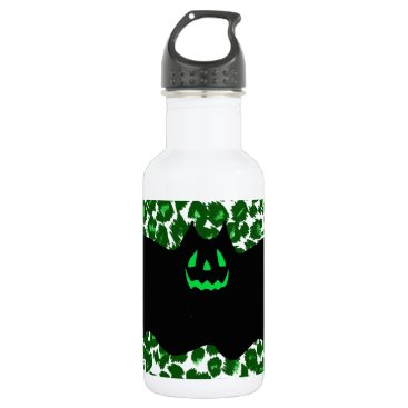 Halloween Themed Bat On Green Leopard Spots Water Bottle