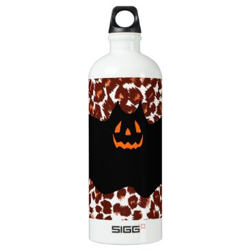 Halloween Themed Bat On Leopard Spot Background Aluminum Water Bottle