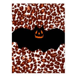 Bat On Leopard Spot Background Post Card