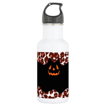 Halloween Themed Bat On Leopard Spot Background Stainless Steel Water Bottle
