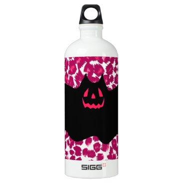 Halloween Themed Bat on Pink Leopard Spots Background Aluminum Water Bottle