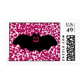 Bat on Pink Leopard Spots Background Postage Stamps