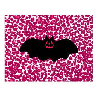 Bat on Pink Leopard Spots Background Postcards