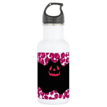 Halloween Themed Bat on Pink Leopard Spots Background Stainless Steel Water Bottle