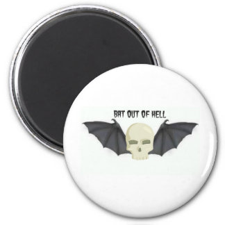 BAT OUT OF HELL WINGED SKULL PRINT MAGNET