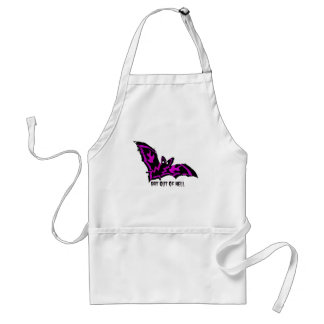 BAT OUT OF HELL WITH PURPLE FLAMES AND LIGHTNING ADULT APRON