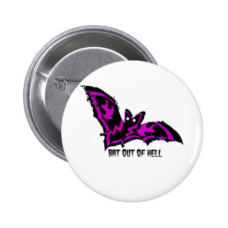 BAT OUT OF HELL WITH PURPLE FLAMES AND LIGHTNING PINBACK BUTTON