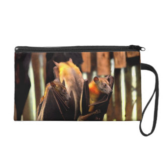 bat painting critter animal standing up wristlet purse