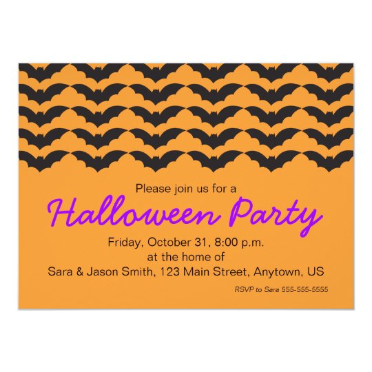 Bat Pattern on Orange Background Halloween Party Card