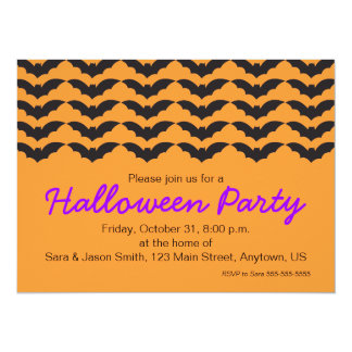 Bat Pattern on Orange Background Halloween Party Personalized Invitations