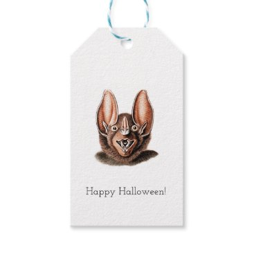 Halloween Themed Bat Portrait Retro in Orange Gift Tags