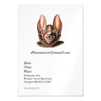 Bat Portrait Retro in Orange Magnetic Card