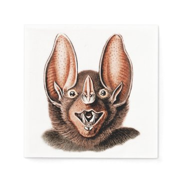 Halloween Themed Bat Portrait Retro in Orange Paper Napkin