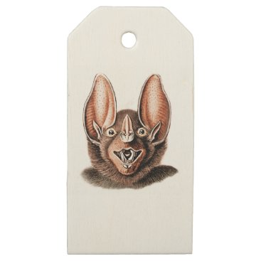 Halloween Themed Bat Portrait Retro in Orange Wooden Gift Tags