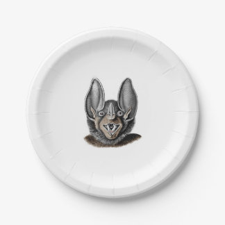 Bat Portrait Retro Paper Plate