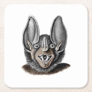 Bat Portrait Retro Square Paper Coaster