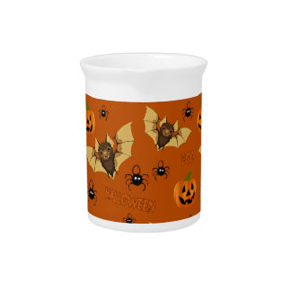 Bat, pumpkin and spider pattern beverage pitcher