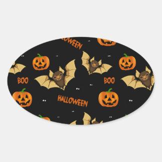 Bat, pumpkin and spider pattern oval sticker