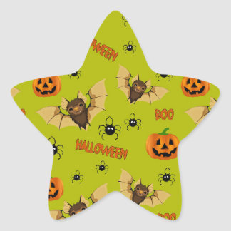 Bat, pumpkin and spider pattern star sticker