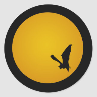 Bat Silhouette On the Moon Round Sticker