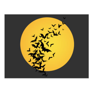 Bat Silhouettes On the Moon Postcard