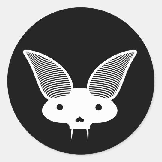 bat skull white classic round sticker