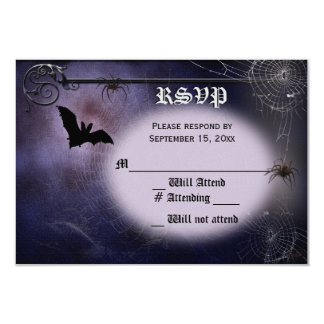 Bat, spiders and full moon RSVP Card