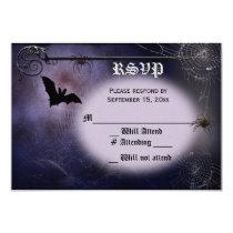 Bat, spiders and full moon RSVP Invitation