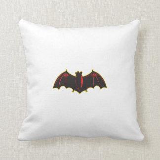 Bat Spread Wing Woodcut Throw Pillow
