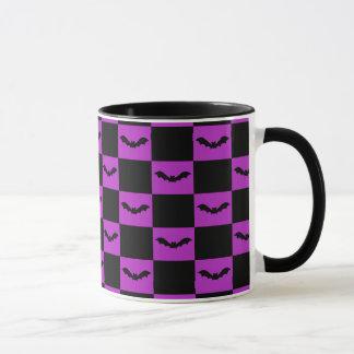 Bat Squares Purple Halloween Mug
