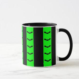 Bat Stripes Green Halloween Mug