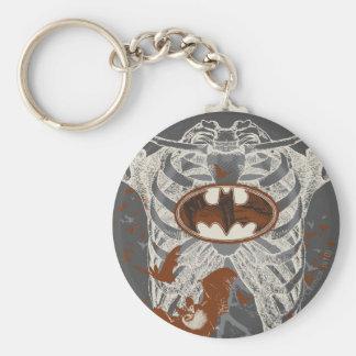 Bat Symbol Ribcage Vintage Collage Basic Round Button Keychain