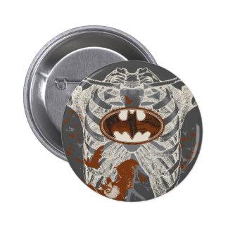 Bat Symbol Ribcage Vintage Collage Button