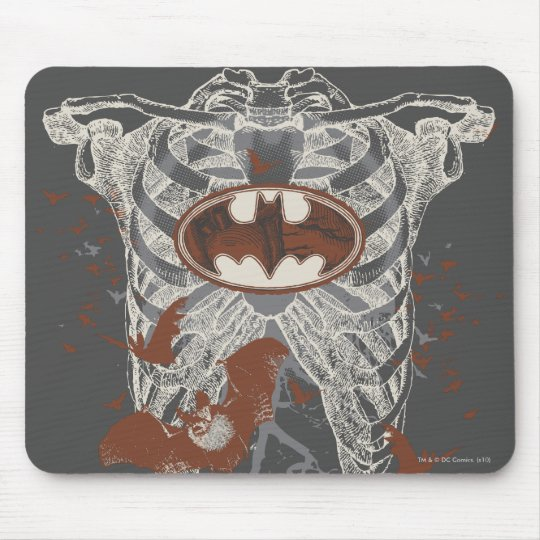 Bat Symbol Ribcage Vintage Collage Mouse Pad