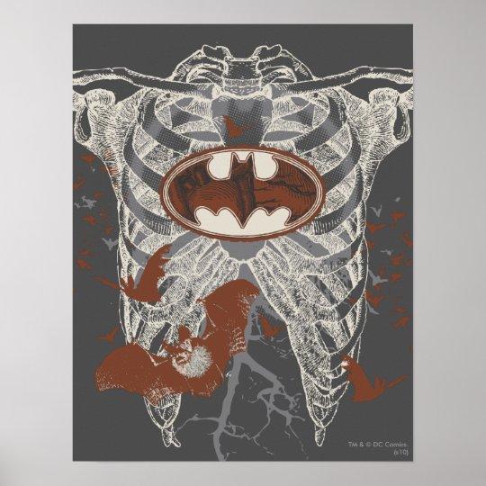 Bat Symbol Ribcage Vintage Collage Poster