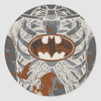 Bat Symbol Ribcage Vintage Collage Classic Round Sticker