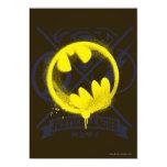 Bat Symbol Tagged Over Justice League 5x7 Paper Invitation Card