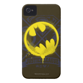 Bat Symbol Tagged Over Justice League iPhone 4 Case-Mate Case