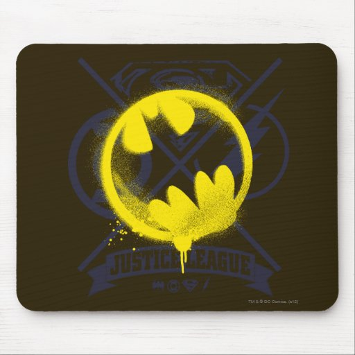 Bat Symbol Tagged Over Justice League Mouse Pad