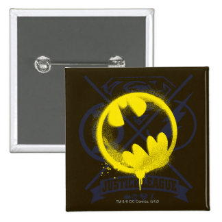 Bat Symbol Tagged Over Justice League Pinback Button