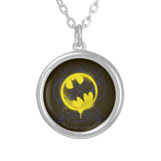 Bat Symbol Tagged Over Justice League Silver Plated Necklace