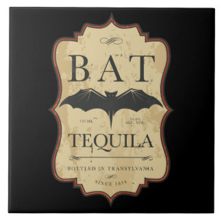 Bat Tequila Vintage Halloween Label Ceramic Tile