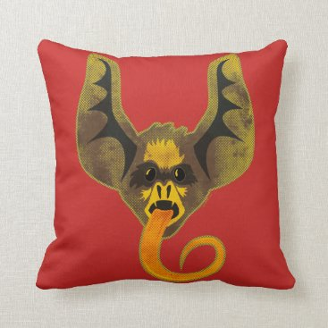 Halloween Themed Bat Tongue Throw Pillow