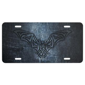 Bat Tribal Steel Metallic License Plate