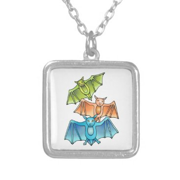 Bat Trio Silver Plated Necklace