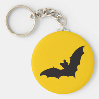 Bat Vintage Wood Engraving Basic Round Button Keychain