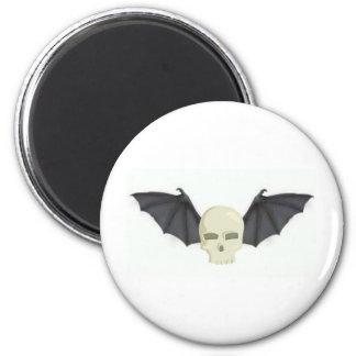 BAT WINGED SKULL IN FLIGHT PRINT MAGNET