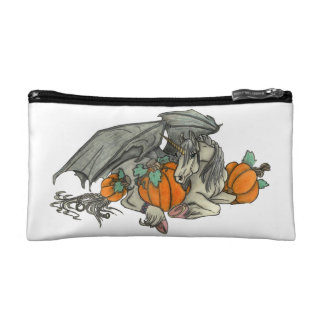 Bat winged Unicorn protecting a pumpkin patch Cosmetic Bag