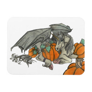 Bat winged Unicorn protecting a pumpkin patch Magnet