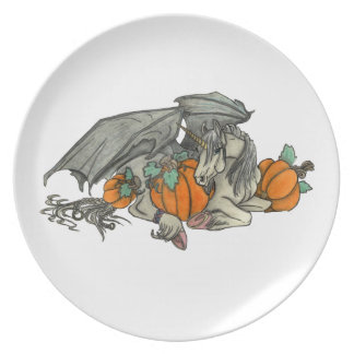 Bat winged Unicorn protecting a pumpkin patch Party Plate